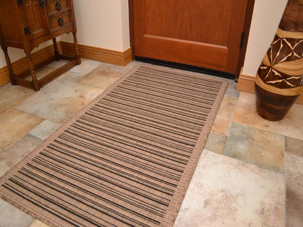 Brown Black Stripe Non Slip Flatweave Rugs 5 Sizes available (200cm x 290cm)       Customer reviews and more news