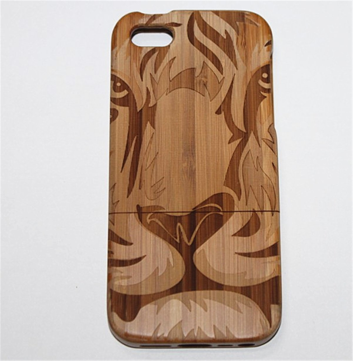 iPhone 6/6S Plus Case, Firefish Tiger Pattern Natural Handmade Hard Wood Case Cove With Laser Engraved Shock & Scratch Protective For iPhone 6/6S Plus ( With A Stylus) -Tiger