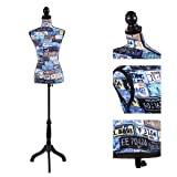 JAXPETY Female Mannequin Torso Clothing Display W/Black Tripod Stand New (Mix Color Digital) (Color: Mix Color Digital)