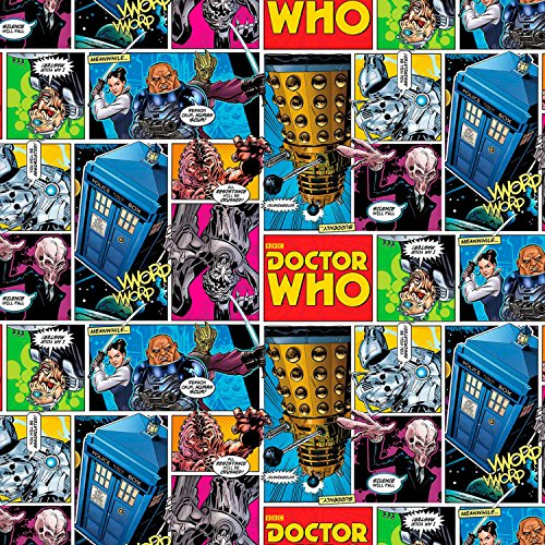 """43"""" Wide Doctor Who Comic Strip Cotton Fabric BY THE HALF YARD"""
