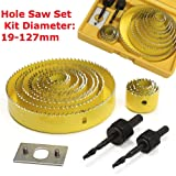 16Pcs Carbon Steel Hole Saw Set Kit, 13 Hole Saw with Mandrels, Super Sharp Saw Blade and Install Plate, 19-127mm Wood Working Metal Holesaw Cutting Set (16 pc Carbon Steel Hole Saw Set Kit, Yellow) (Color: Yellow, Tamaño: 16 pc Carbon Steel Hole Saw Set Kit)