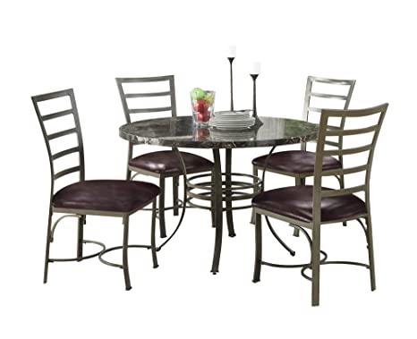 ACME 70150 Daisy 5-Piece Dining Set, Black Round Faux Marble Top