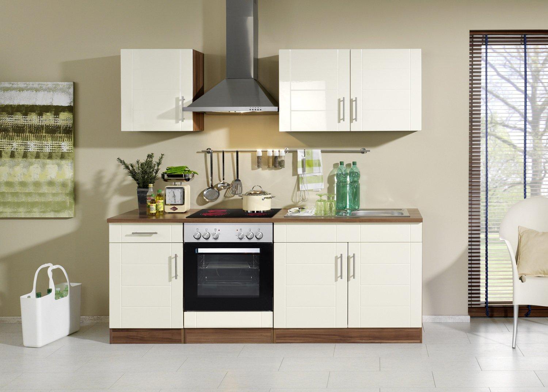 Held Möbel 689.6034 Küchenzeile 210 in Hochglanz-creme / nussbaum mit E-Geräten