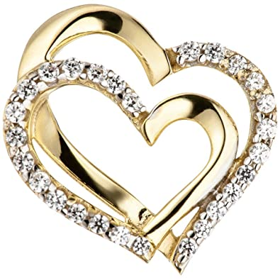 Two Hearts Pendant 333 Gold Yellow Gold Two-Tone Double Heart with Cubic Zirconia