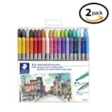 STAEDTLER Double Ended Fiber-tip Markers, for Sketching, Drawing, Illustrations, and Coloring, 72 Vibrant Colors, Washable, 320TB72 LU - 2 Pack (Color: 2 PACK, Tamaño: 2 PACK)