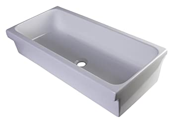 "ALFI brand AB36TR Above Mount Porcelain Bath Trough Sink, 36"", White"