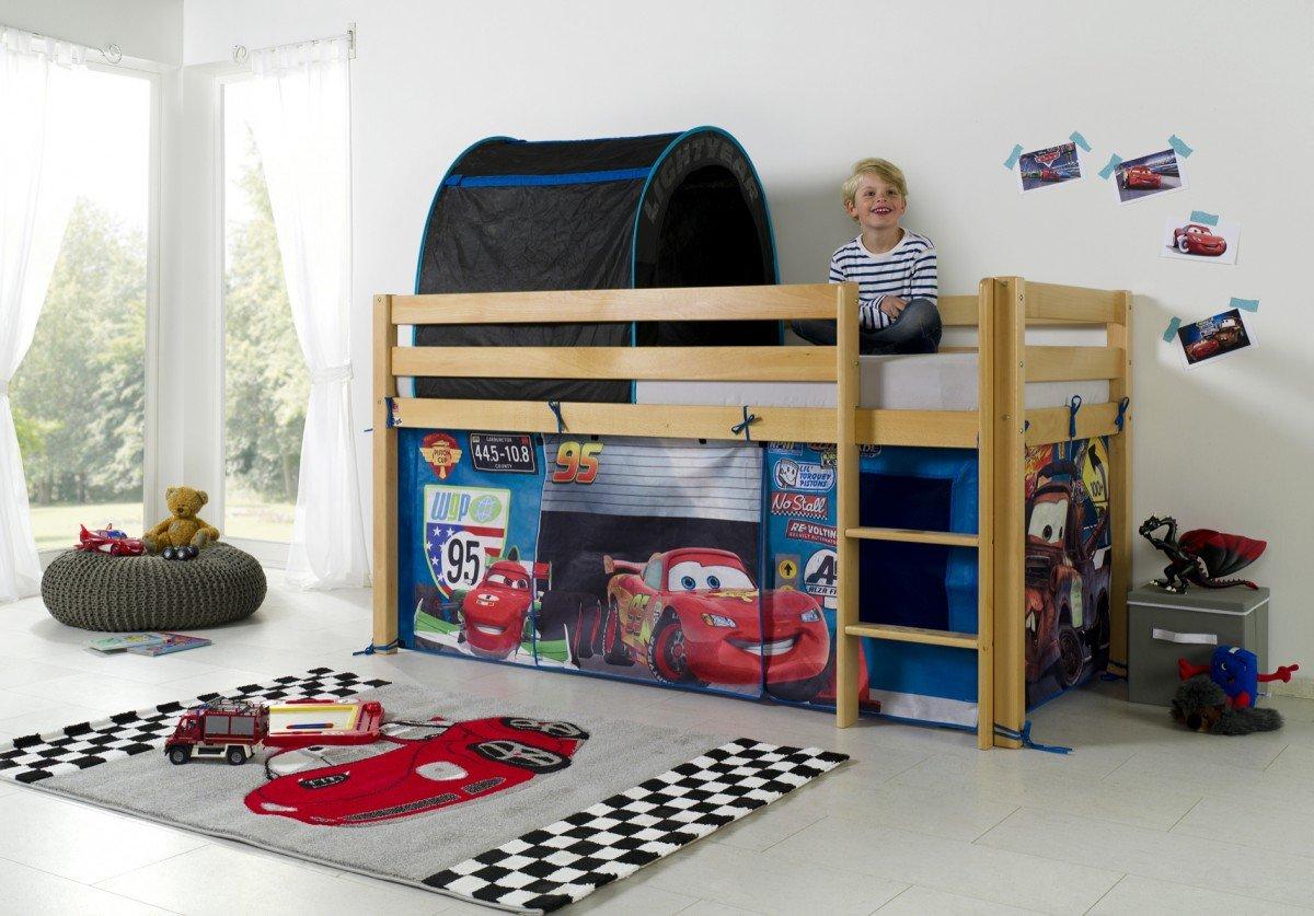 Dreams4Home Kinderbett Hochbett Spielbett Bett 'Disney Cars' 90 x 200 cm Buche massiv natur lackiert inklusive Vorhang Tunnel günstig bestellen