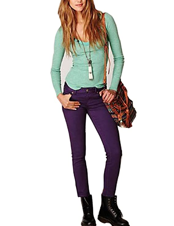 Free People Women's Colored Denim Skinny Ankle Jeans Teal