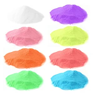 8 Color Glow in The Dark Pigment Powder,Epoxy Resin Luminous Powder for Slime,Safety Pigment Powder for Paint, Slime, Nails, Resin, Concerts or DIY - 10g/0.35oz Each(Total 2.8oz) (Color: 8 color*10g)