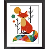 eGoodn Stamped Cross Stitch Kit Printed Pattern Cartoon Animal - Colorful Fox, 11ct Aida Fabric 11inches by 15 inches, No Frame (Color: Fox)