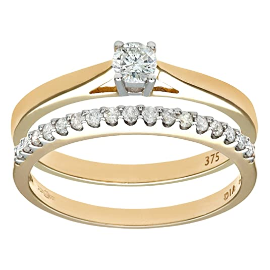 Naava 9ct Yellow Gold 33Pts Diamonds Bridal Set Ring