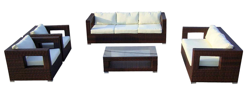 Baidani Gartenmöbel-Sets 10c00003.00002 Designer Lounge-Garnitur Seaside, 3-er-Sofa, 2-er-Sofa, 2 Sessel, Sitzauflagen, 1 Couch-Tisch mit Glasplatte, braun
