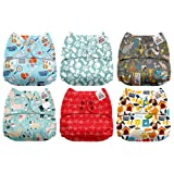 Mama Koala One Size Baby Washable Reusable Pocket Cloth Diapers, 6 Pack with 6 One Size Microfiber Inserts (Vet Visit) (Color: Vet Visit, Tamaño: One Size)