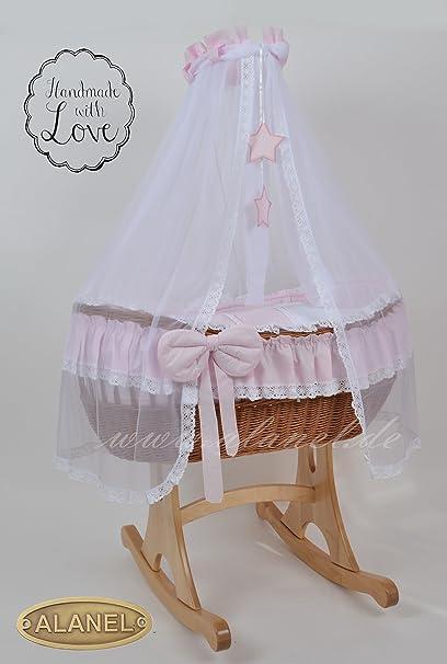 NEW Ophelia uno Star Rocker Antique Pink Culla Carretto Wicker Crib von alanel