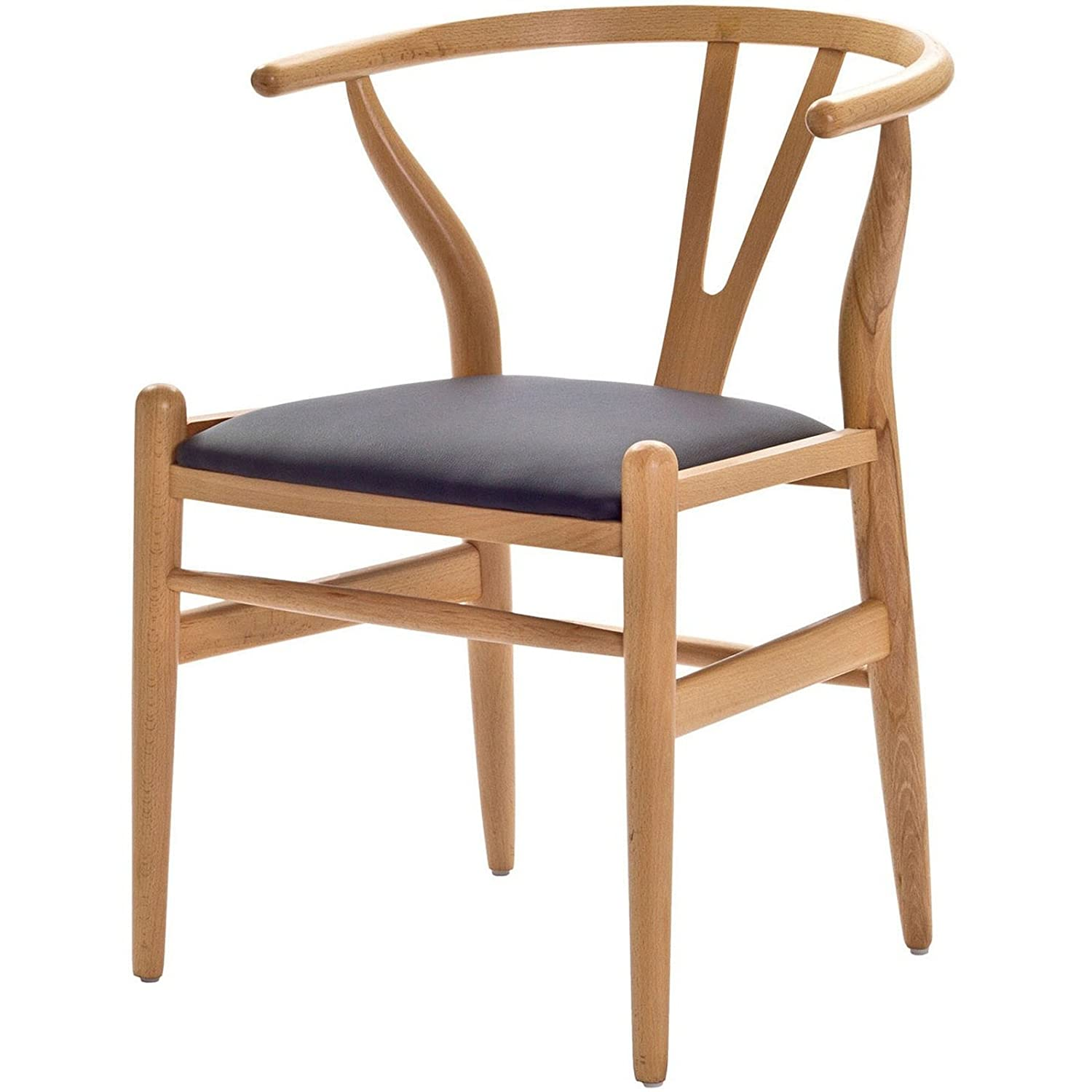 Hans Wegner Wishbone Chair With Leatherette Seat Modern Chair New