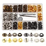 Aiskaer 120 Sets Snap Fasteners Kit, Metal Snap Buttons Press Studs with 3 Pieces Fixing Tools, 4 Color Clothing Snaps Kit for Leather, Coat, Down Jacket, Jeans Wear and Bags (Color: 14.5mm-201#)