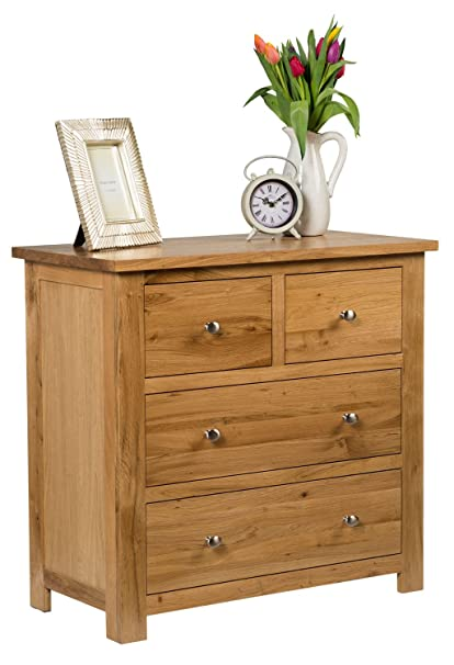 Waverly Oak 4 Drawer Chest of Drawers in Light Oak Finish | Solid Wooden Storage