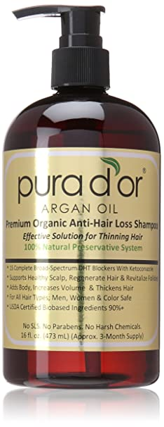 Best Shampoo For Women - Pura d'or Premium Organic Argan Oil Anti-Hair Loss Shampoo