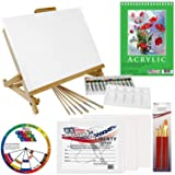 US Art Supply 33 Piece Custom Artist Acrylic Painting Set with Table Easel, Paint, Canvas and Accessories (Tamaño: Deluxe Set)