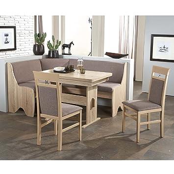 Eckbank Eckbankgruppe Essgruppe BIBIONE I Essecke Tisch 2 Stuhle Sonoma Eiche