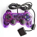 Saloke Wired Gaming Controller for Ps2 Double Shock (Clear Purple) (Color: Clear Purple)