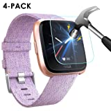 NANW [4-Pack] Compatible Fitbit Versa Screen Protector, 9H Tempered Glass Waterproof Screen Glass Cover Saver Protector Compatible Fitbit Versa Smartwatch (Anti-Scratch/No-Bubble/Ultra Clear) (Color: 4 Pack Fitbit Versa Screen Protector)