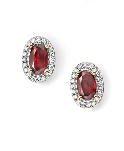 Yellow Gold Diamond and Garnet Cluster Stud Earrings