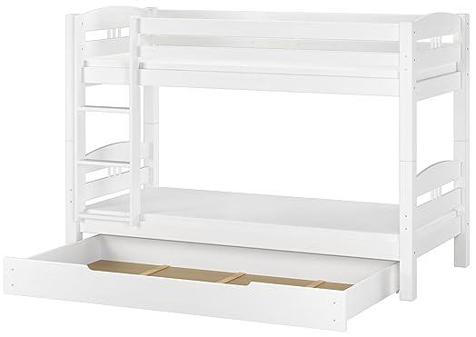 Letto castello bianco 90x200 per bambini con assi legno materassi e cassettone 60.10-09 W M S1