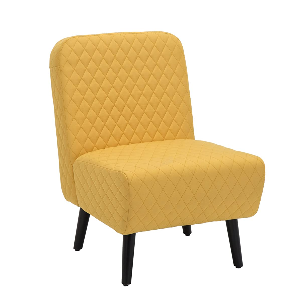 LSSBOUGHT Modern Muted Fabric Armless Chair Stylish Accent Chair (Yellow)
