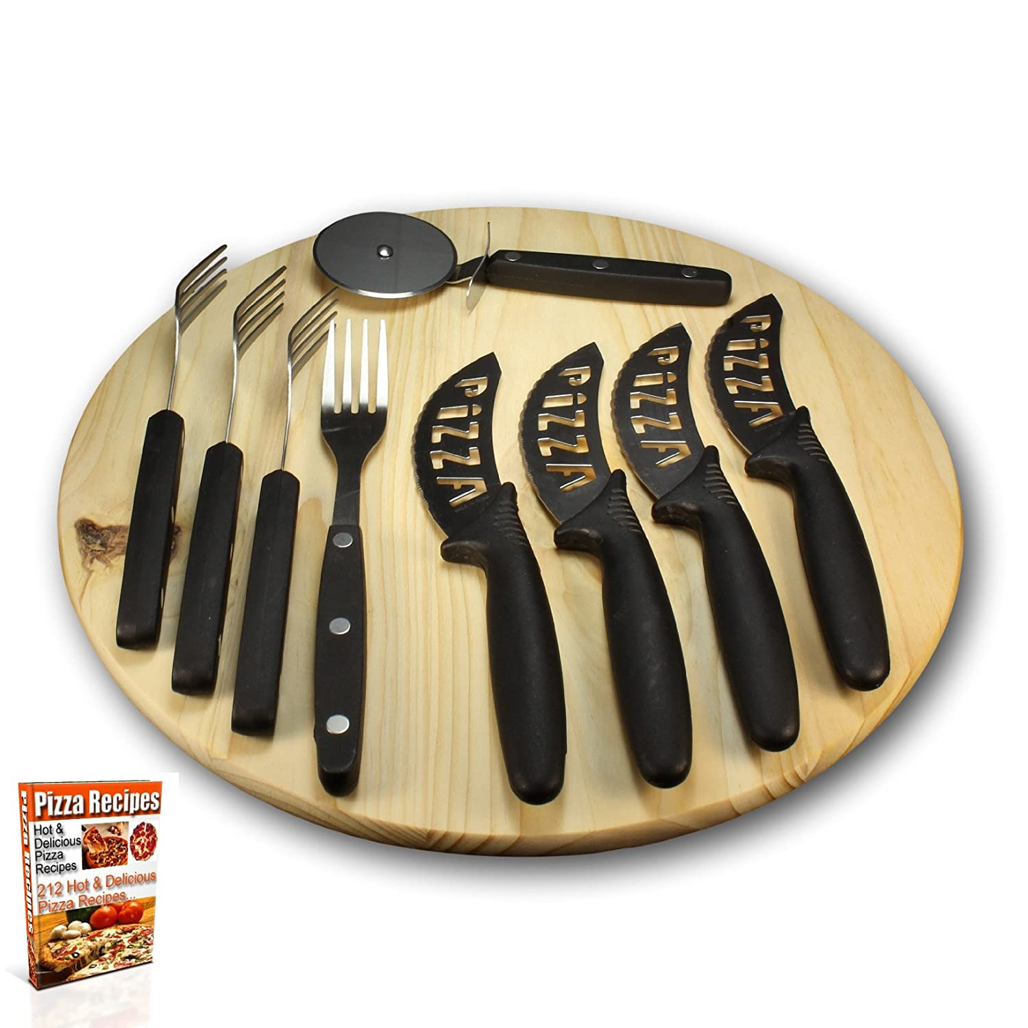 Pizza Serving Set – Wood Cutting Board, 9pc Utensils and 212 Recipe eBook – Gift Sets by bogo Brands