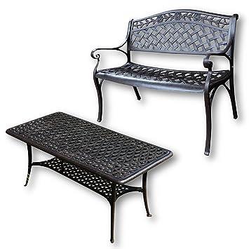 Lazy Susan - Mesa de centro rectangular de jardín CLAIRE y banco ROSE - Muebles en fundición de aluminio, color Bronce Antiguo
