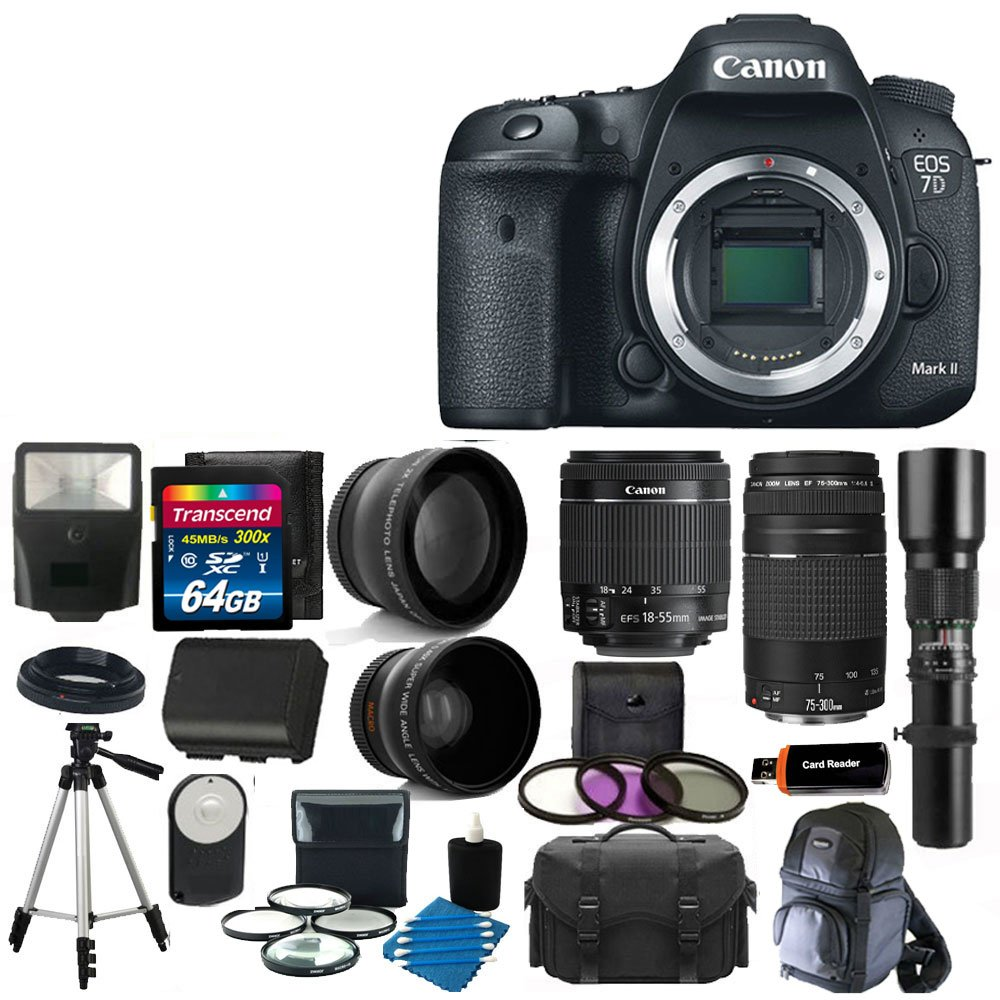 Canon EOS 7D Mark II Digital SLR Camera 20.2 MP CMOS with EF-S 18-55mm f/3.5-5.6 IS STM Zoom Lens + EF 75 ..