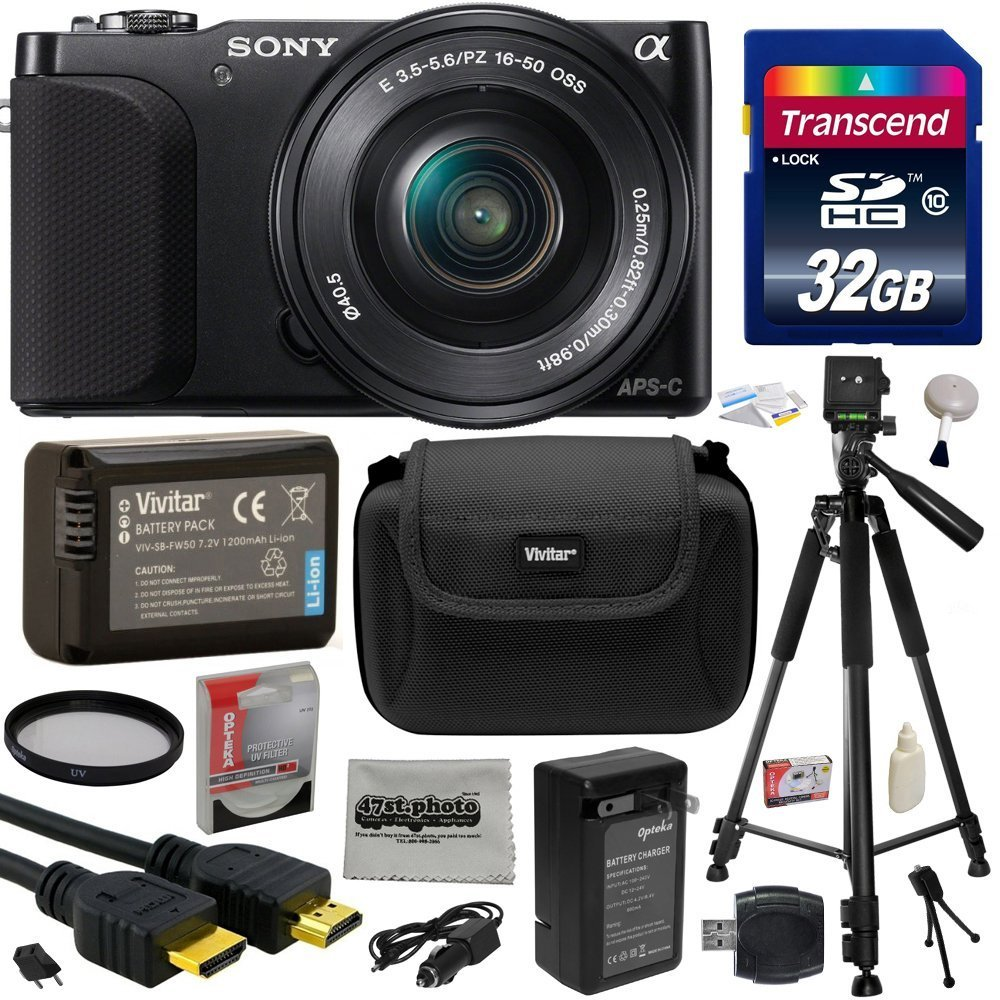 Sony NEX3 NEX-3 NEX3NL NEX-3NL/B Compact Mirrorless Interchangeable Lens Digital Camera with 16-50mm f/3.5-5.6 Lens (Black) with Must Have Accessories Bundle Kit includes 32GB Class 10 SDHC Memory Card  ..