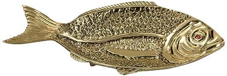 Virtus 8677 - Frutero en forma de pez, fabricado en bronce, 21 x 37 cm