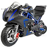 XtremepowerUS 40CC 4-Stroke Gas Power Mini Pocket Motorcycle Ride-on, Blue/Black, EPA Certificated