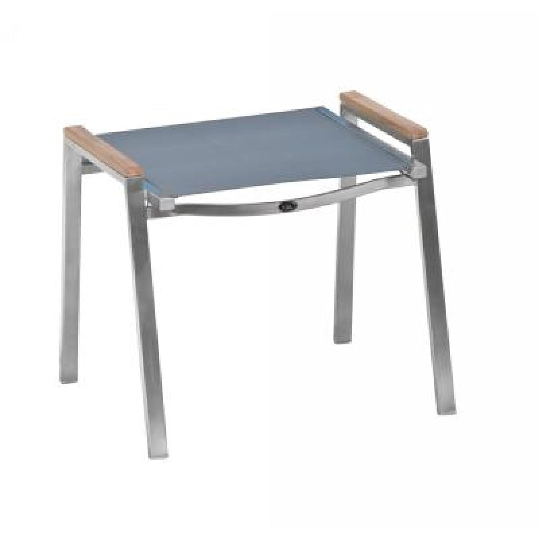 Inko Hocker Artus Edelstahl mit Textileen grau und Teakholz online kaufen