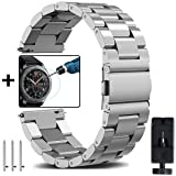 Gear S3 Classic/Frontier Metal Bands + Gear S3 Tempered Glass, OTOPO 22mm Solid Stainless Steel Watch Strap Replacement Bracelet for Samsung Gear S3 Frontier/S3 Classic Smartwatch (Silver,22mm) (Color: Siliver Metal Bands for Gear S3, Tamaño: 22mm (Gear S3))
