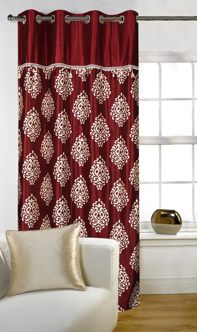 Maroon Curtains For Living Room Buy Home Candy Eyelet Fancy Polyester 2 Piece Door Curtain Set