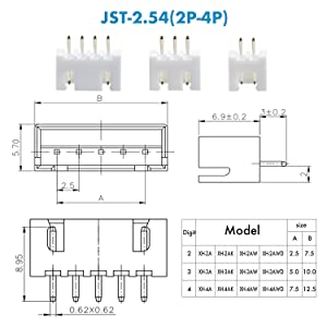 460 Pieces 2.54mm JST-XH JST Connector Kit. 2.54mm Pitch Female Pin Header, JST XH - 2/3 / 4 Pin Housing JST Adapter Cable Connector Socket Male and Female, Crimp DIP Kit. (Color: JST-XH 2P/3P/4P, Tamaño: XH 2P/3P/4P)