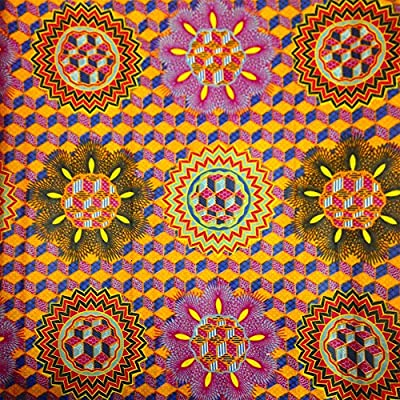 African Print Fabric Cotton Print Rubix Orange 44'' wide By The Yard Green Purple Red Blue
