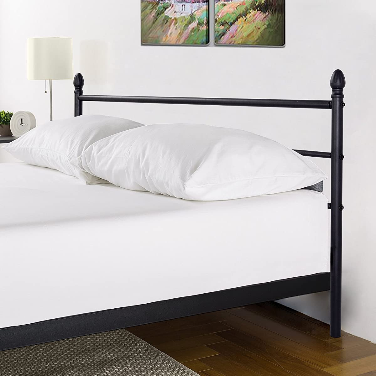 Reinforced Metal Bed Frame Queen Size, VECELO Platform Mattress Foundation / Box Spring Replacement with Headboard & Footboard