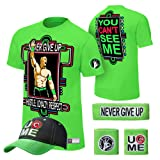 WWE John Cena T-shirt , Cap , Sweatbands strong Wristbands 5 Piece Set Wrist RAW (M, green) (Color: Green, Tamaño: Medium)