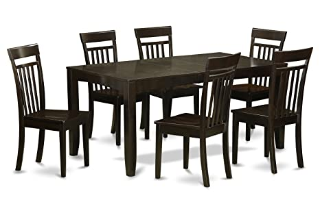 East West Furniture LYCA7-CAP-W 7-PC Dining Room Table Set, Cappuccino Finish