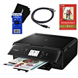 Canon PIXMA TS6020 Wireless All-in-One Compact Inkjet Printer with Print, Scan, Copy (Black) + Set of Ink Tanks + Photo Paper Sample + USB Printer Cable + HeroFiber Ultra Gentle Cleaning Cloth (Color: Black)