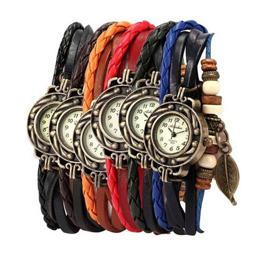 Yunan Pack of 6 Women's Watches Vintage Wrap Around Bead Leaf Bracelet Quartz Wholesale Set 0