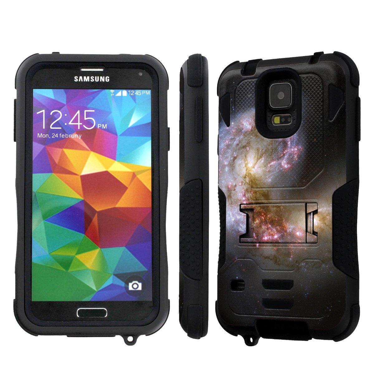 NakedShield Samsung Galaxy S5 (Space Beginning) Armor Tough ShockProof Phone KickStand Case