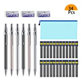Mechanical Pencil Set, 6 Pieces Drafting Mechanical Pens and 24 Tubes Lead Refills with 3 Pack Erasers and a A6 bag for Office and School