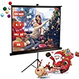 120 Inch Projector Screen with Foldable Stand Tripod, GBTIGER Diagonal HD 4:3 Pull Up Portable Indoor and Outdoor PVC Movie Screen with Wrinkle-Free Design 160° Viewing Angle (Color: with Stand Tripod, Tamaño: 120 inch)