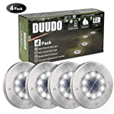 DUUDO Solar Ground Light, Newest 10 LED Garden Pathway Outdoor Waterproof In-Ground Lights, Disk Lights (Cold White, 4 PACK) (Color: silver, Tamaño: 4 pack)