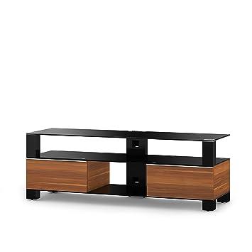 Sonorous MD 9140-B-HBLK-APL Fernseher-Möbel mit Schwarzglas (Aluminium Hochglanz, Korpus Holzdekor) apfel/schwarz